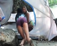 Two Amateur Babes Foursome Party Outdoor At Camping - scene 3