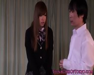 Stunning Japanese Schoolgirl Tasting Creampie - scene 2