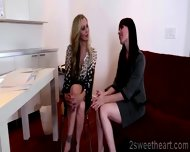 2 Superb Lesbian Milf Kiss Each Other And Get Nasty At The Office - scene 9