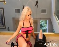 Brooke Haven Strips Off Her Lingerie And Rides The Sybian Until She Cums - scene 1