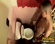Cute Twink Flops Out His Cock And Pisses In The Toilet Bowl - scene 8