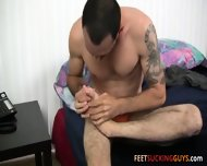 Scruffy Foot Lover Geo Loves Stroking His Smooth Sexy Feet - scene 6