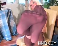 Tiny Slit In Fancy Pantyhose - scene 6