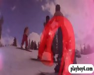 Badass Babes Hang Gliding And Snowboarding While All Naked - scene 5