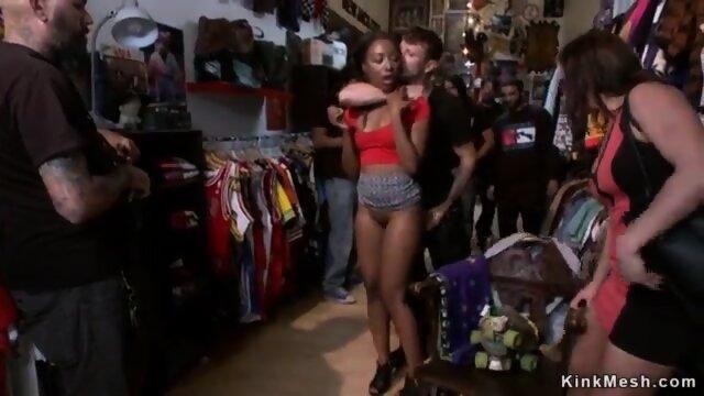 Ebony fucked for public in vintage shop