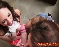 Young Naughty Brunette Girls Share Huge Cock - scene 8