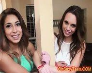 Young Naughty Brunette Girls Share Huge Cock - scene 2