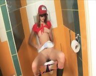 Amazingly Skinny Cute Cheerleader On Toilet - scene 7