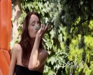 Brunette And Outdoor Fingering Cunt - scene 2