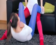 Horny Lezzies In Pantyhose Enjoying Strap - scene 3