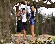 Lesbo Trio Piss Drenching - scene 7