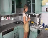 Self Preasuring With Dildos On The Kitchen - scene 1