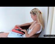 Glamour Blonde Beauty Loves Teasing Her Warm Slot - scene 1