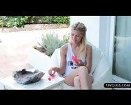 Glamour Blonde Beauty Loves Teasing Her Warm Slot - scene 9