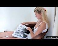 Glamour Blonde Beauty Loves Teasing Her Warm Slot - scene 2
