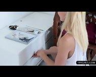 Glamour Blonde Beauty Loves Teasing Her Warm Slot - scene 7