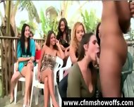 Outdoor Blowjob For Dude With Cfnm Group Of Women - scene 4