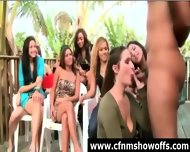 Outdoor Blowjob For Dude With Cfnm Group Of Women - scene 6