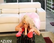 Brooke Haven Enjoys The Rockers Big Dildo Going In And Out Of Her Sweet Little Pussy - scene 3