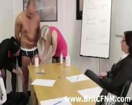 British Cfnm Girls Give A Gay A Handjob In The Office - scene 1