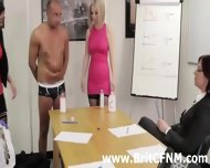 British Cfnm Girls Give A Gay A Handjob In The Office - scene 2