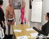 British Cfnm Girls Give A Gay A Handjob In The Office - scene 3