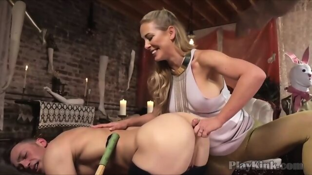 Blonde MILF with big tits enjoying BDSM fucking