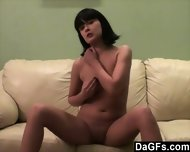 Shy Young Brunette Makes Her First Show On Webcam - scene 2