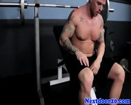 Muscular Tattooed Stud Jerking Off - scene 4