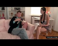 Stunning Schoolgirl In Miniskirt Gets A Quick Rim Job Before Class - scene 4