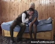 70yo Horny Granny Sucks Young Cock - scene 1