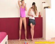 Pissing Teen Duo Play A Little Naked Bowling - scene 1