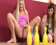 Pissing Teen Duo Play A Little Naked Bowling - scene 2