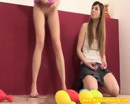 Pissing Teen Duo Play A Little Naked Bowling - scene 3