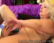 Fatty Redhead Granny Has A Horny Old Blondie Stretching Her Snatch - scene 1