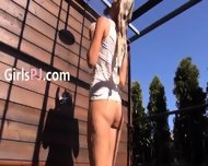 Toying And Opening Her Hole On Terrace - scene 1