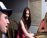 Young Girls Loving On Poker Night - scene 1