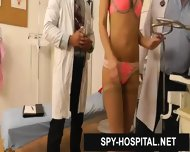 Two Doctors Inspecting Slim Nasty Babe In Hidden Camera Clip - scene 3