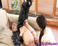 Leather Clad Lesbo Rimmed - scene 8
