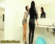 Lesbians Piss In Bathroom - scene 2
