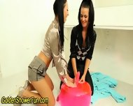 Lesbians Piss In Bathroom - scene 4