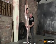 Shaved Twink Getting Wrapped In Plastic And Wanked Hard - scene 6