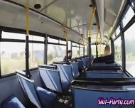 Check Out These Two Blonde Girls Had A Threesome In The Bus - scene 2