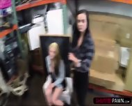 Brunette And Blonde Lesbians Wants To Sell A Moose Head Gets Fucked - scene 3