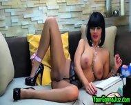 Busty Ebony Babe Teases Pussy On Webcam - scene 10