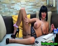Busty Ebony Babe Teases Pussy On Webcam - scene 11