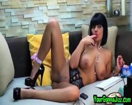 Busty Ebony Babe Teases Pussy On Webcam - scene 12