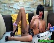 Busty Ebony Babe Teases Pussy On Webcam - scene 4