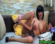 Busty Ebony Babe Teases Pussy On Webcam - scene 5