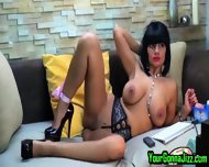 Busty Ebony Babe Teases Pussy On Webcam - scene 7
